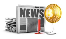 Newspaper and  bitcoin. Newspapers, pump and bloated bitcoin. 3d rendering Royalty Free Stock Photos