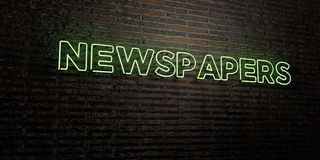 NEWSPAPERS -Realistic Neon Sign on Brick Wall background - 3D rendered royalty free stock image Royalty Free Stock Photos
