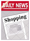 Newspapers shopping. An image of a newspaper stand with shopping news insert Royalty Free Stock Images