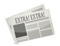 Newspapers showing extra extra message Royalty Free Stock Image
