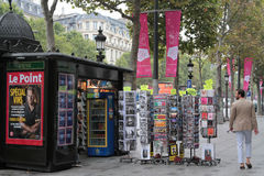 Newspapers and souvenirs on the Avenue des Champs-Élysées Royalty Free Stock Photo