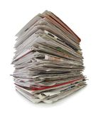 Newspapers stack isolated on white background, inclusive clipping path without shade. Germany Stock Photo