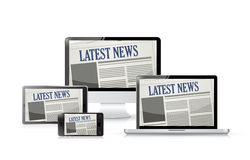 Newspapers. technology tools. illustration Royalty Free Stock Image