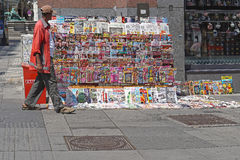 Newspapers Vienna. VIENNA, AUSTRIA - JULY 12, 2015: Newspaper vendor at street stand in Wien. Colorful Newspapers and Periodical for sale at Graben Street in Stock Photo