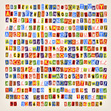 Newspeper cut letters. Set of colorful newspaper cut letters. 14 styles of letters. You can combine an alphabet in one style Royalty Free Stock Images