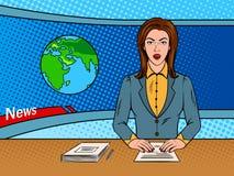 Newsreader czyta wiadomość na TV wystrzału sztuki wektorze royalty ilustracja