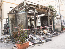 Newsstand burned in the center of Chieti by vandals Stock Photos