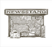 Newsstand. Hand drawn press kiosk. Vector illustration EPS 10 Royalty Free Stock Photography