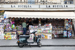 Newsstand, italian square. Catania, Sicily. San Biagio Church and Amphitheater. The historic center of Catania, Sicily. Newsstand on the square (Piazza Stesicoro stock image