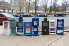 Newsstand with newspapers in Princeton street. royalty free stock photo