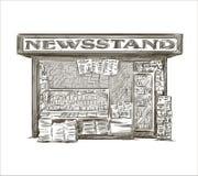 newsstand Quiosque tirado mão da imprensa Fotografia de Stock Royalty Free