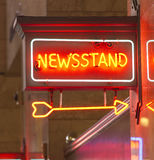 Newsstand Red Neon Sign Indoor Signage Arrow Pointing News Stock Images