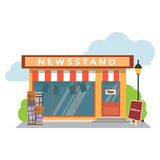 Newsstand selling newspapers and magazines.Press kiosk. Vector illustration. Royalty Free Stock Photography