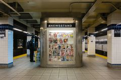 Newsstand in a subway station in New York Stock Images