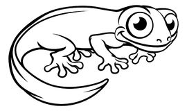 Newt or Salamander Cartoon Character. Outline coloring illustration Royalty Free Stock Image