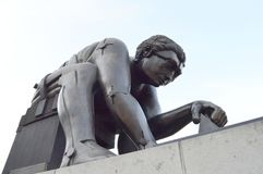 Newton Bronze Sculpture, British Library, London. Bronze Sculpture of Isaac Newton, by Eduardo Paolozzi, inspired by William Blake`s print of the same subject royalty free stock photo