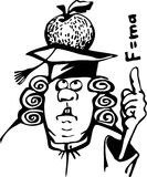Newton cartoon. Contour image of Newton. Caricature. Background is absent vector illustration