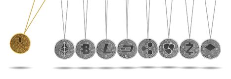 Newton cradle of gold and silver crypto currencies. Newton cradle made of gold bitshares and silver crypto currencies isolated on white background. Ripple Stock Photos
