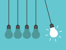 Newton cradle, light bulbs royalty free illustration