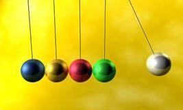 Newton cradle pendulums. A colorful newton cradle pendulums Stock Photography
