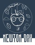 Newton Day banner black. Educational banner for the holiday Newton Day. black and white illustration stock illustration