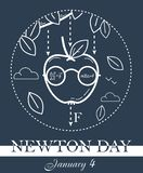 Newton Day black banner. Educational banner for the holiday Newton Day. black and white illustration stock illustration