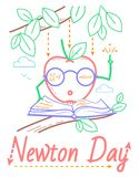 Newton Day educational banner. Educational banner for the holiday Newton Day. illustration in the linear style royalty free illustration