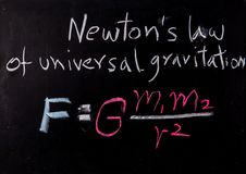 Newton law on blackboard royalty free stock images