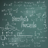 Newton law theory and physics mathematical formula equation, doo Royalty Free Stock Photography