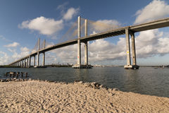 The Newton Navarro Bridge, Natal, RN, Brazil. The Newton Navarro Bridge, is one of the biggest cable-stayed bridges in Brazil. It is located in the city of Natal Royalty Free Stock Photography