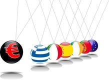 Newton pendulum euro. A newton pendulum with flags of 5 european countries attacked by the euro Stock Photography