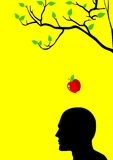 Newton's Apple. Iconic illustration of an apple falling dawn to the head stock illustration