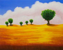 Newton's apple tree. Original oil painting in field in California. I'm the author of this painting royalty free illustration
