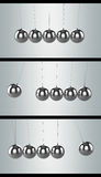 Newton's cradle balancing balls, three positions Stock Images