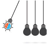 Newton's cradle concept on background,creative light bulb Idea c Stock Image