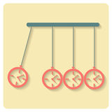 Newton's Cradle concept of procrastination with alarms. Vector illustration Royalty Free Stock Photo
