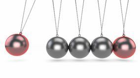 Newton`s cradle, it is a device that demonstrates conservation. Of momentum and energy using a series of swinging spheres. The device is also known as Newton`s Stock Image