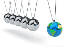Newton's cradle with Earth globe Stock Photos