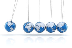 Newton's cradle with globes, 3d render Stock Images