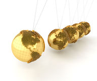 Newton's cradle with golden globes formed by Royalty Free Stock Images