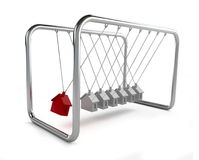 Newton's cradle house. It is isolated on a white background Stock Photo
