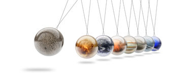 Newtons cradle. Made with solar system plantes Royalty Free Stock Photography