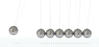 Newton`s Cradle - Seven Metallic, Silver, Chrome 3D Pendulum. Newton`s Cradle - Seven Metallic, Silver, Chrome 3D Pendulum in Raw - Front View. Hanging Polished stock illustration