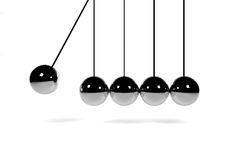 Newton's cradle on white surface 3D render Stock Images