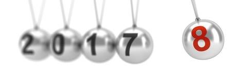 Newton-` s Wiege, die 2018, neues Jahr zeigt Lizenzfreies Stockfoto