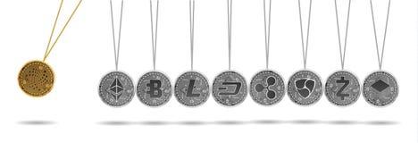 Newton-Wiege des Goldes und der silbernen Schlüsselwährungen Stockbild