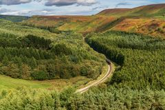 Newtondale, seen from the Levisham Moor, North Yorkshire, England, UK. Near Levisham, North Yorkshire, England, UK: September 13, 2018: A train of the historic stock photo