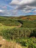 Newtondale, seen from the Levisham Moor, North Yorkshire, England, UK. Near Levisham, North Yorkshire, England, UK: September 13, 2018: A train of the historic stock photos