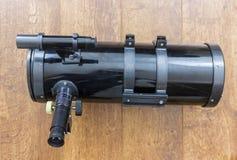 Newtonian telescope. Black Newtonian reflector telescope side view royalty free stock photos