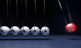 Newtons craddle. 3D rendering of Newton's cradle pendulum Royalty Free Stock Photos